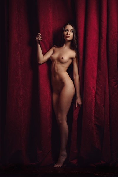 Naked girl, stage curtain