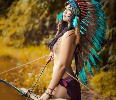 Naked girl dressed like Indian