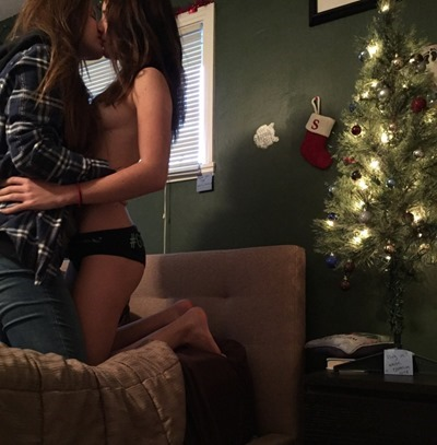 Young girls kissing