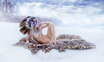 Naked Indian girl in winter